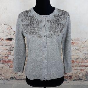 Garnet Hill S Gray Wool Cashmere Cardigan Sweater